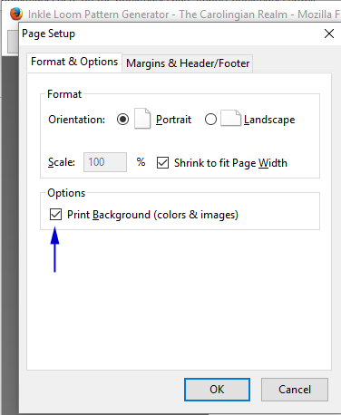 In The Print Window Click On Page Setup Under Options Select Background Colors Images