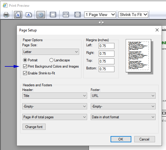 Internet Explorer Right Click The Document And Select Print Preview From Window On Settings Gear Icon